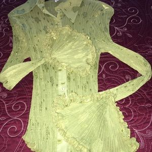Lime green blouse, beautiful bell detail sleeves.